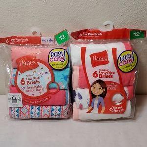 2 packages Hanes girls low rise brief panties 12